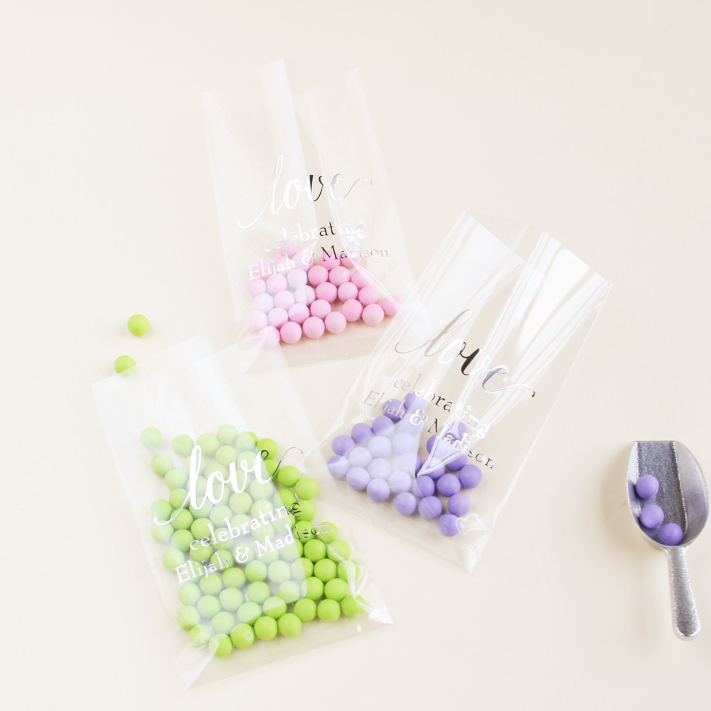 Personalized Love Script Wedding Cellophane Bags