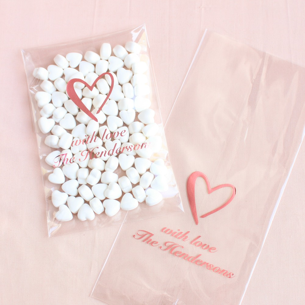 Personalized Heart Wedding Cellophane Bags