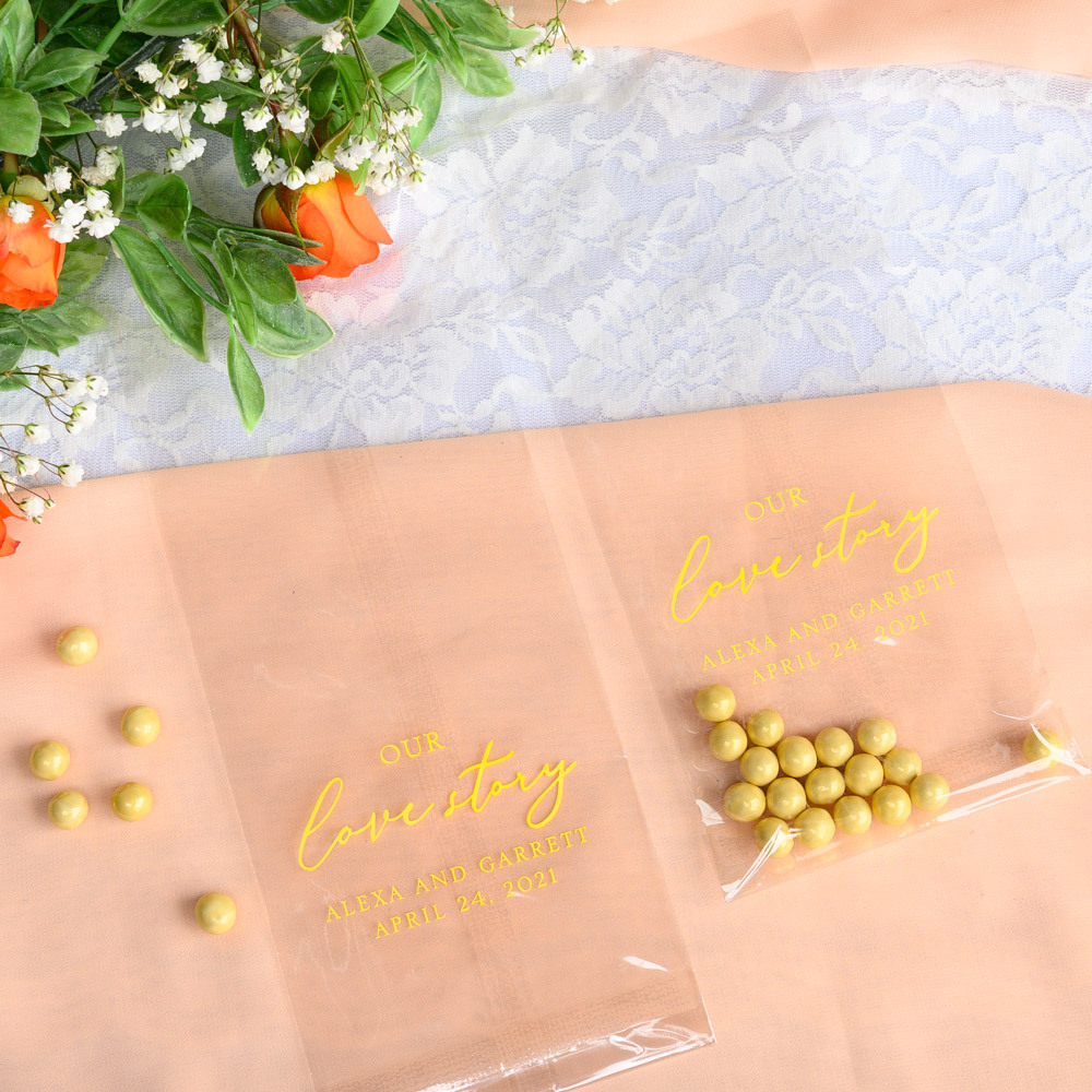 Personalized Our Love Story Wedding Cellophane Bags