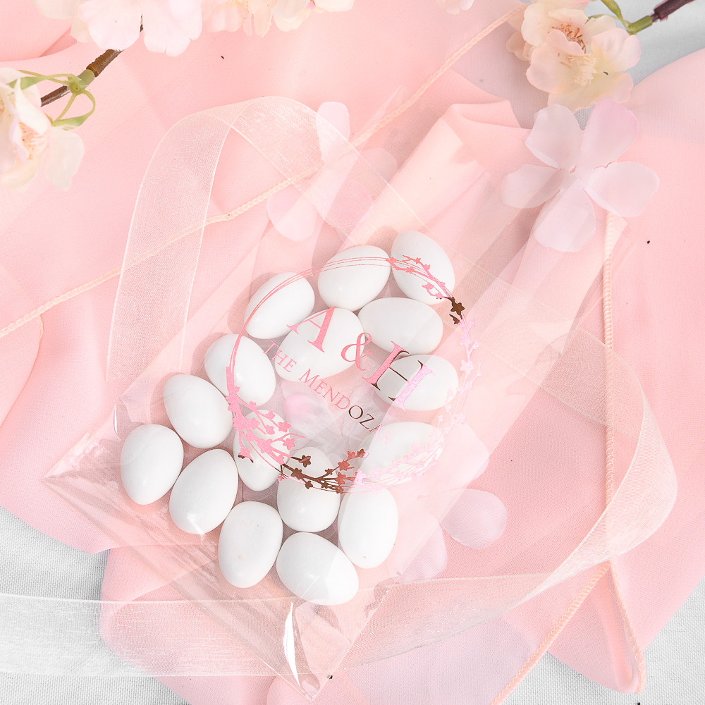 Personalized Cherry Blossom Wedding Cellophane Bags