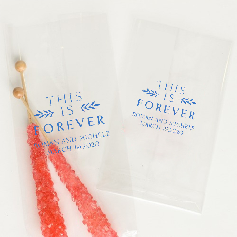 Personalized This is Forever Wedding Cellophane Bags