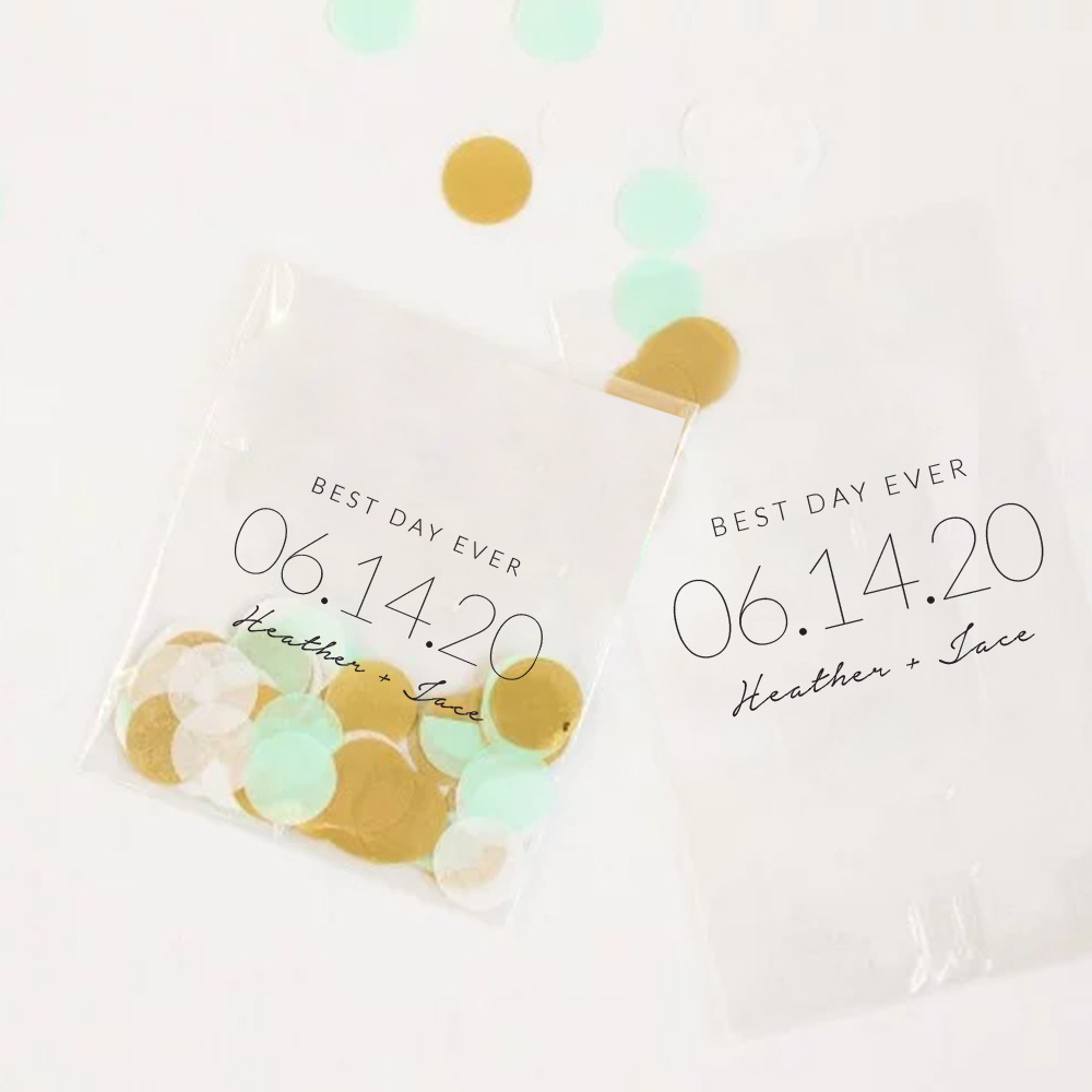 Personalized Wedding Date Cellophane Bags
