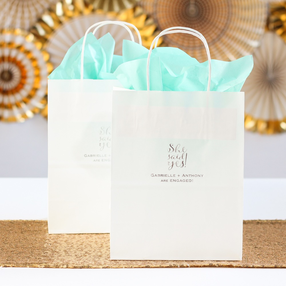 Personalized She Said Yes Wedding Gift Bags