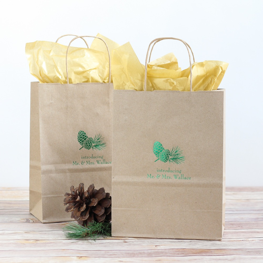 Personalized Pinecone Wedding Gift Bags