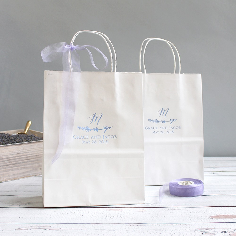 Personalized Lavender Sprig Gift Bags