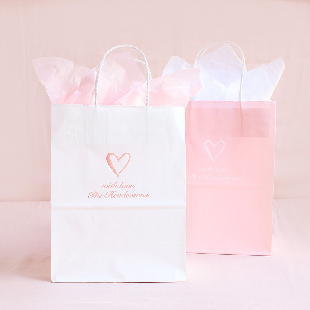 Personalized Heart Wedding Gift Bags