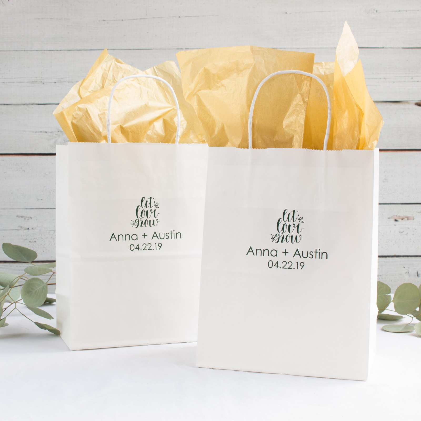 Personalized Let Love Grow Gift Bags