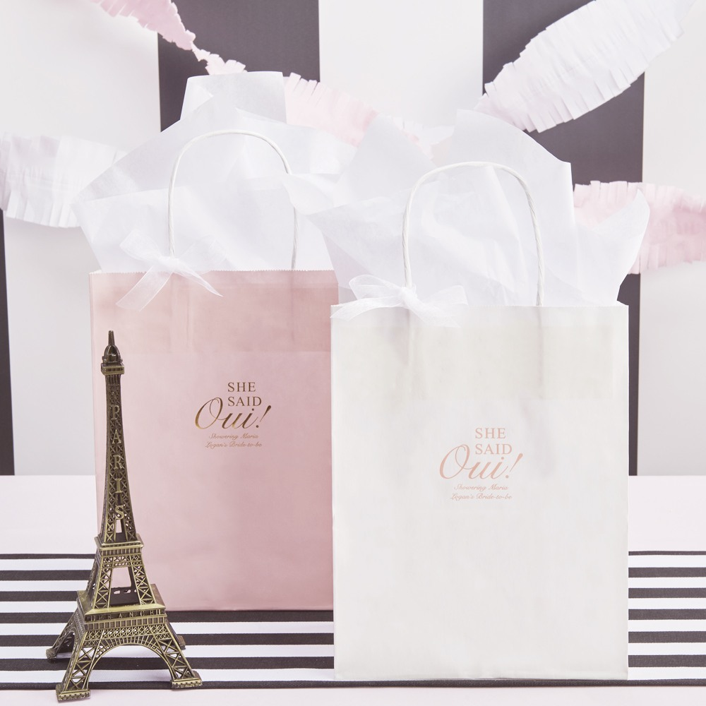 Personalized She Said Oui Wedding Gift Bags
