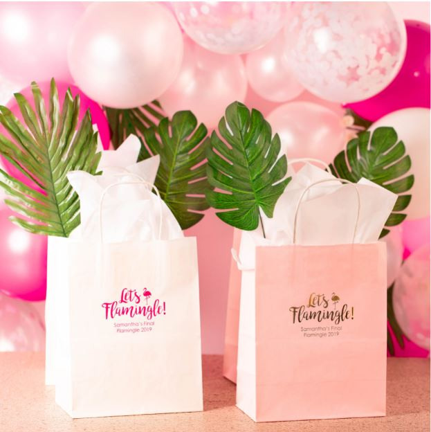 Personalized Let's Flamingle Wedding Gift Bags