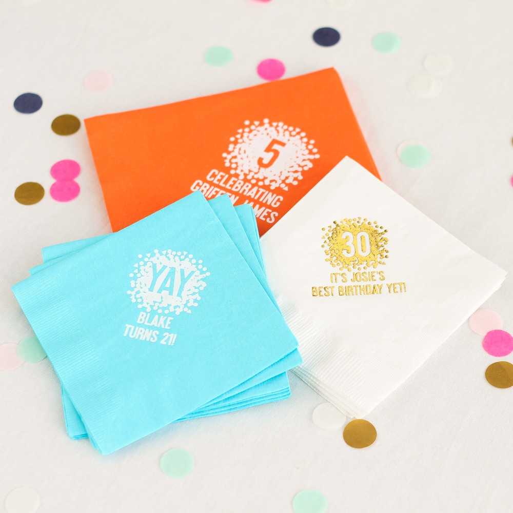Personalized Confetti Birthday Napkins