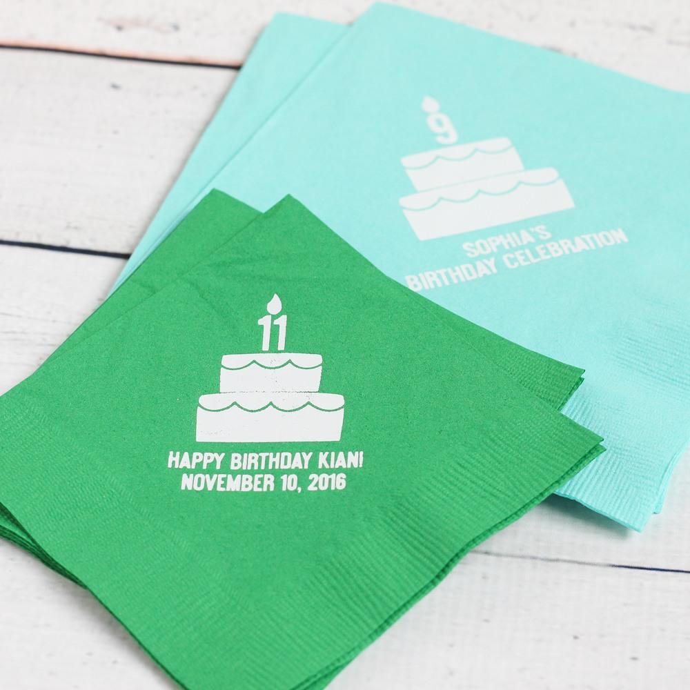 Personalized Birthday Cake Napkins