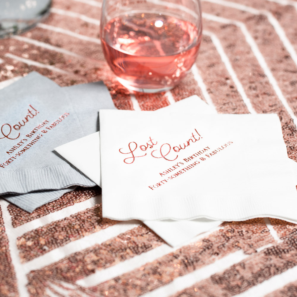 Personalized Lost Count Birthday Party Napkins