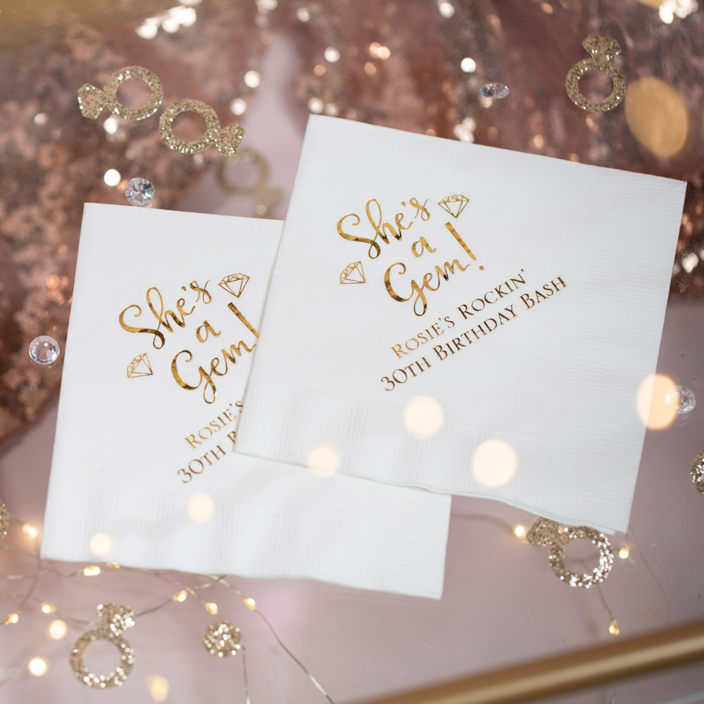 Personalized she's a Gem Birthday Party Napkins