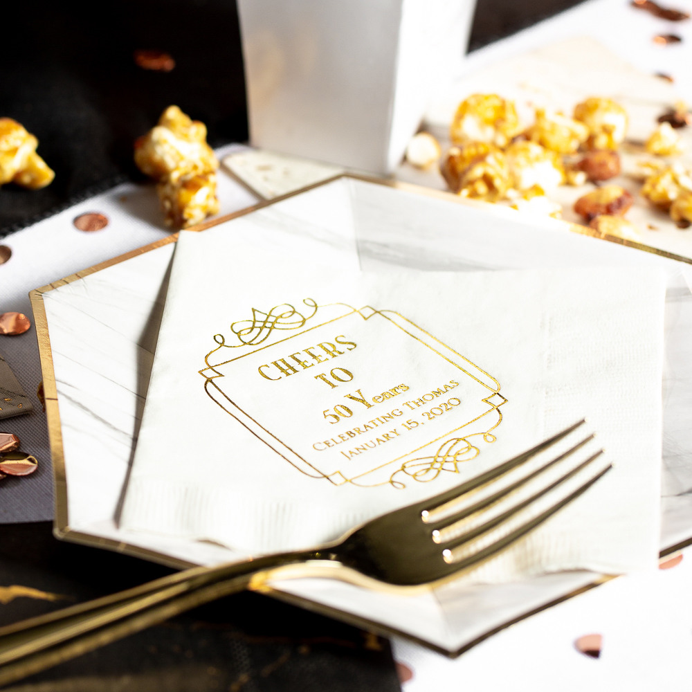 Personalized Vintage Cheers Birthday Party Napkins