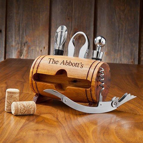 Personalized Wine Barrel Accessory Set 6994