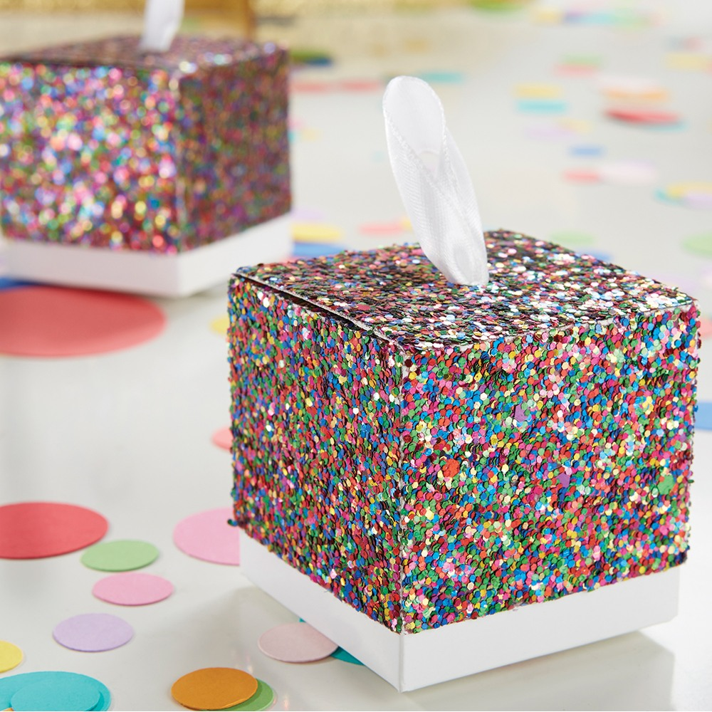 Multi-Color Glitter Favor Boxes