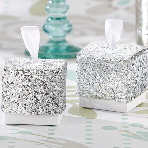 Silver Glitter Favor Boxes