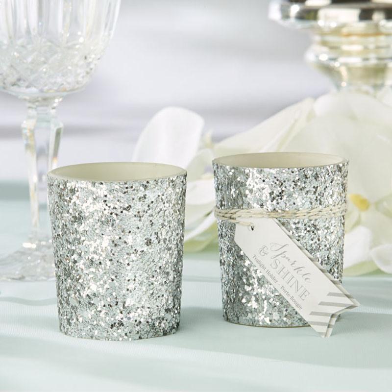 Silver Glitter Tealight Holders