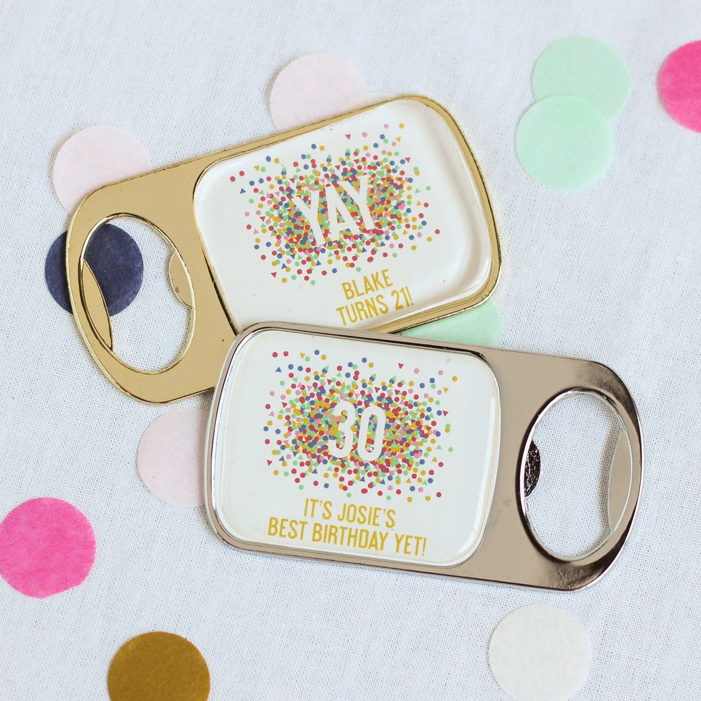 Personalized Birthday Bottle Opener With Epoxy Dome 7145