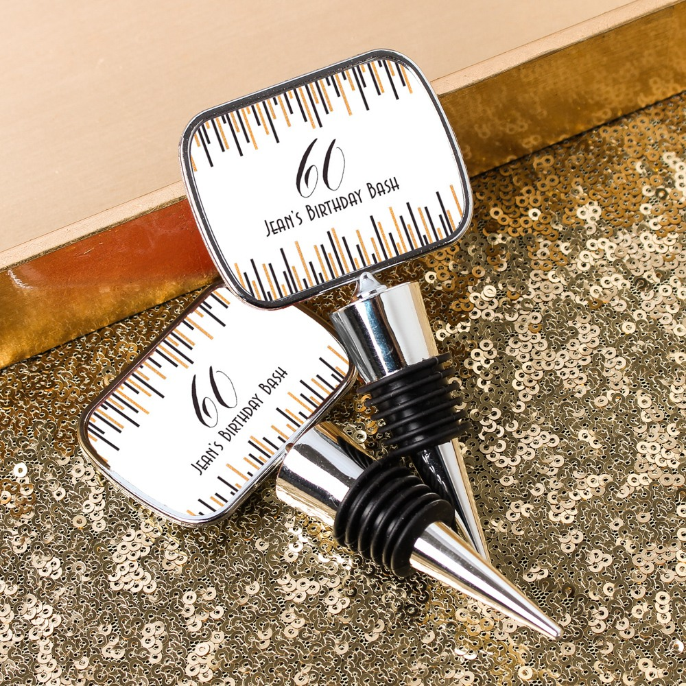 Personalized Birthday Bottle Stopper With Epoxy Dome 7151