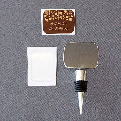 Unassembled Bottle Stopper with Epoxy Dome and Label