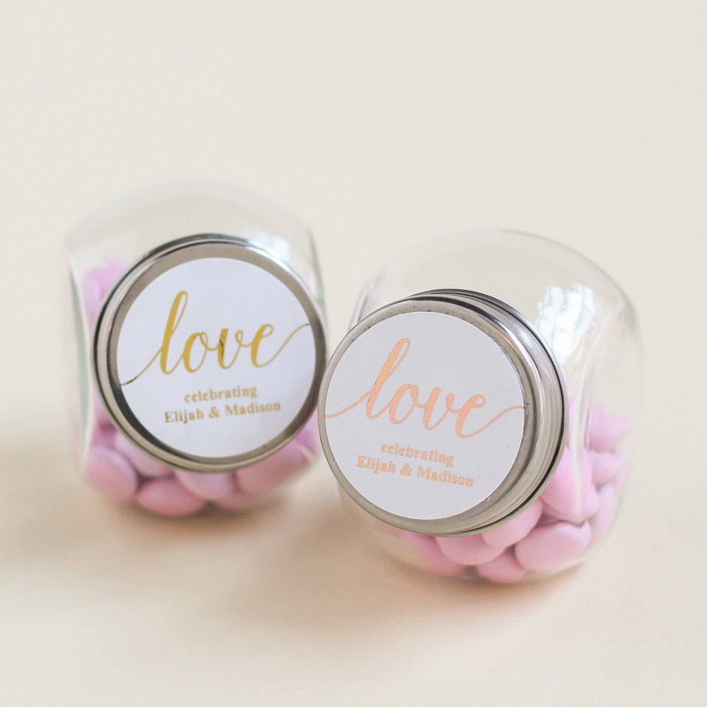 Personalized Love Script Metallic Foil Candy Jars