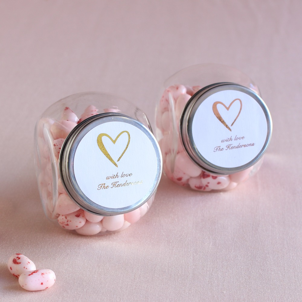 Personalized Heart Metallic Foil Candy Jars