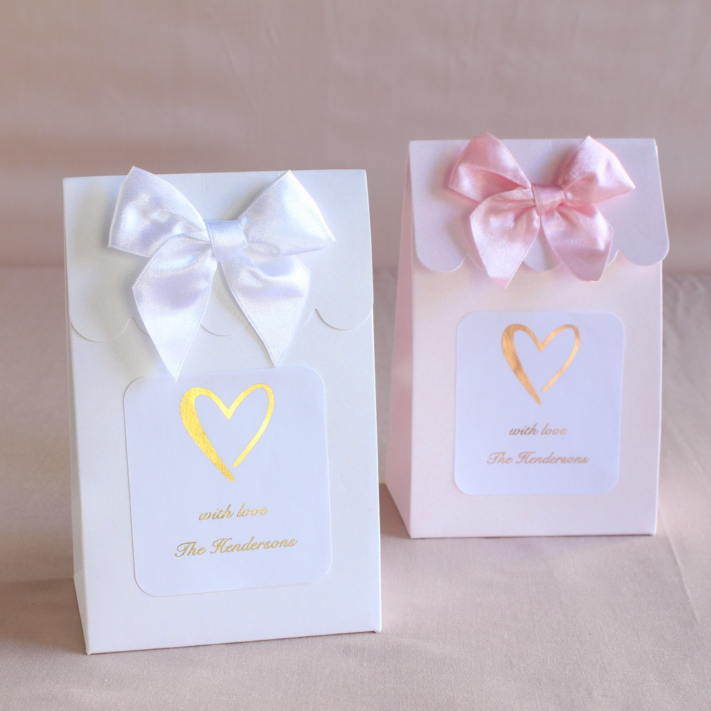 Personalized Heart Metallic Foil Candy Bags