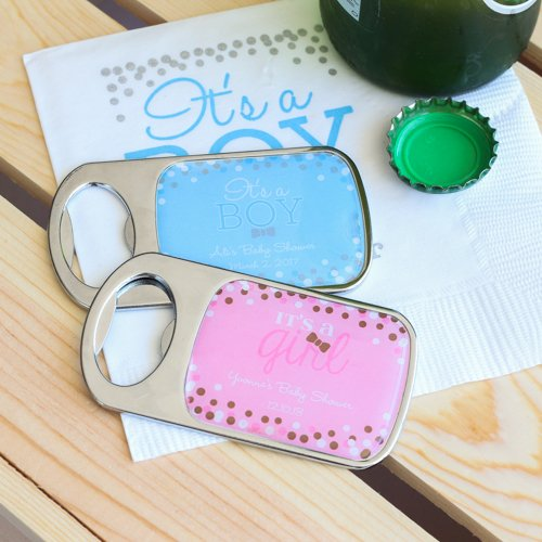 Personalized Baby Shower Themed Bottle Openers with Epoxy Dome