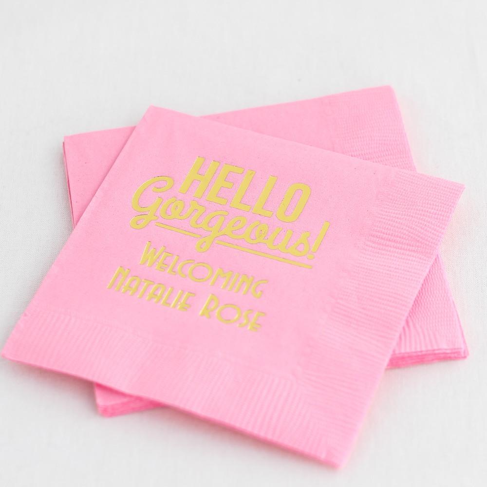 Personalized Hello Gorgeous Napkin