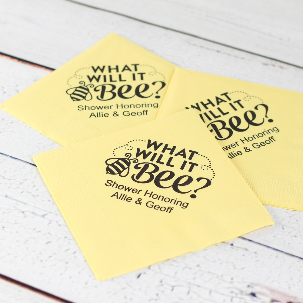 Personalized Bee Reveal Napkins