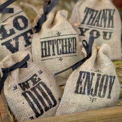Wedding sayings burlap favor bags Burlap bag decorating ideas