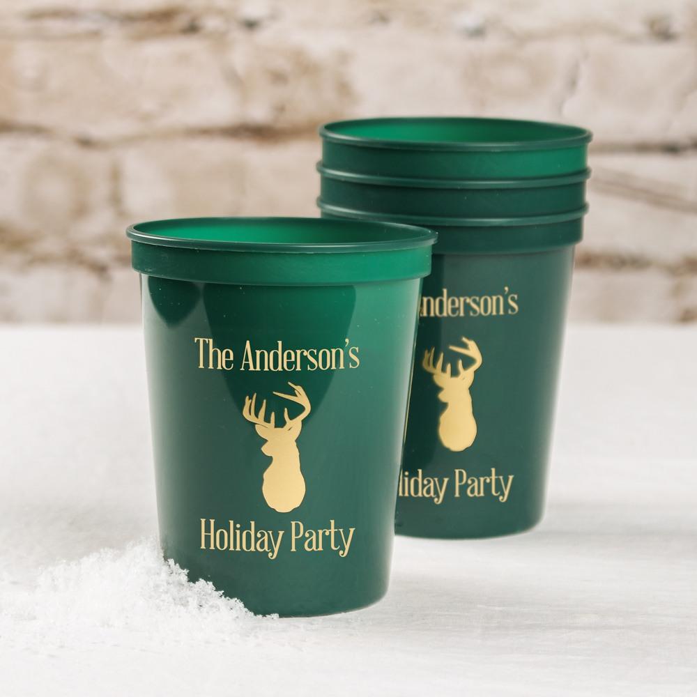 Personalized Woodland Holiday Stadium Cups