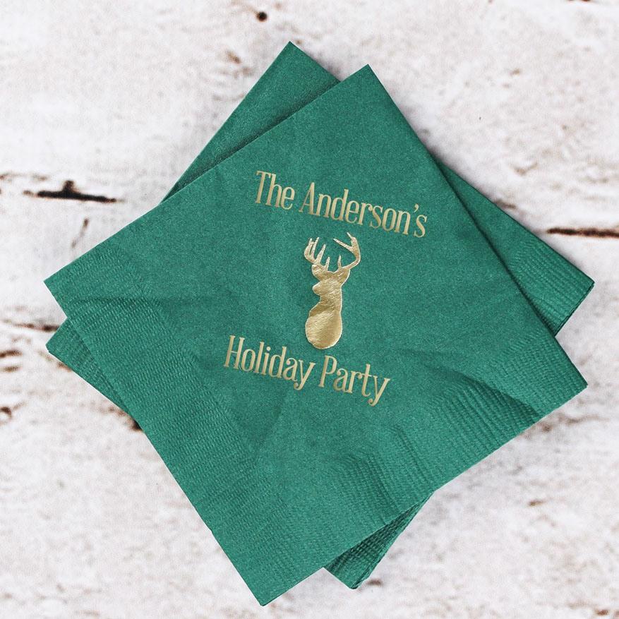 Personalized Woodland Holiday Napkins