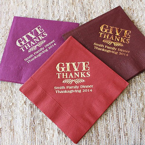 Personalized Thanksgiving Holiday Napkins