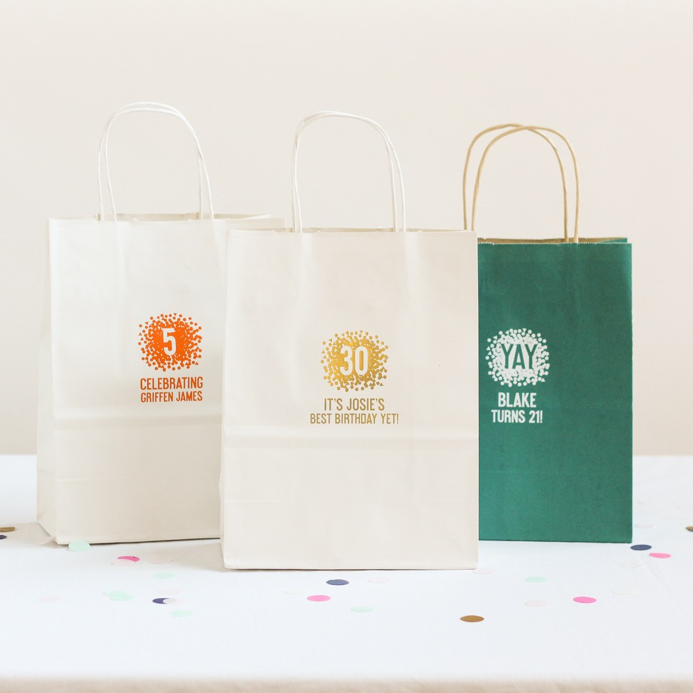Personalized Confetti Birthday Gift Bags