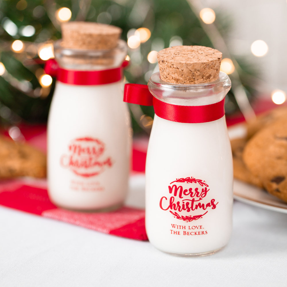 Personalized Happy Holiday's Printed Party Vintage Milk Jars