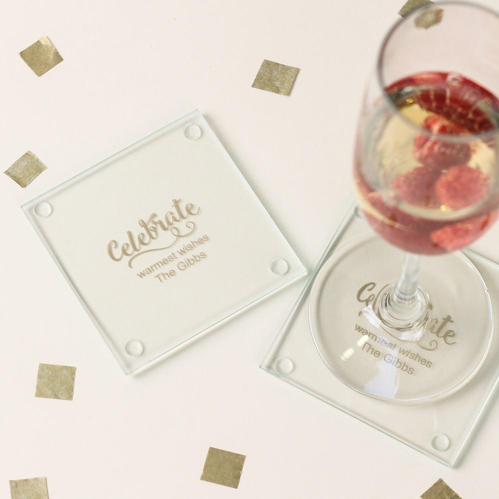 Personalized Celebrate Glass Coasters