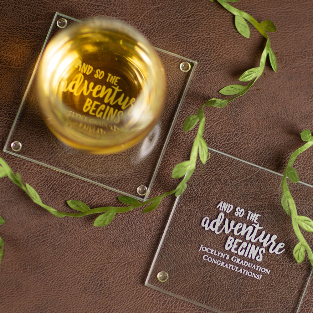 Personalized Grad Adventure Party Glass Coasters