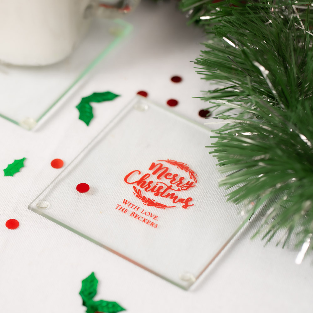 Personalized happy Holiday's Party Glass Coasters