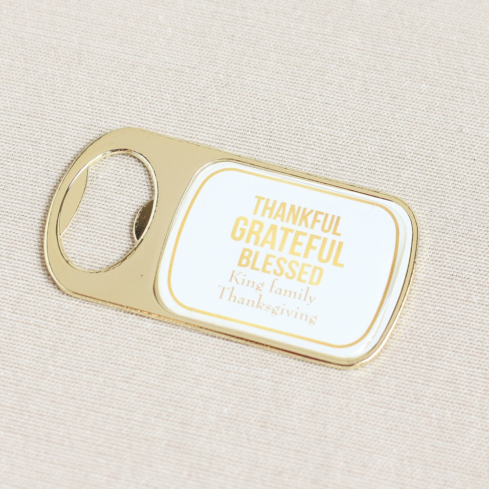 Personalized Thanksgiving Bottle Opener with Epoxy Dome