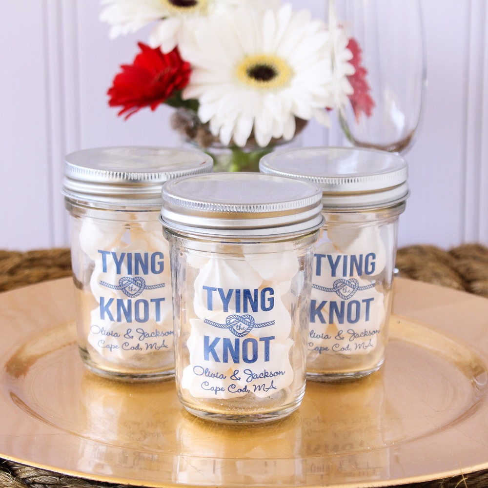 Personalized Tying the Knot Mason Jar