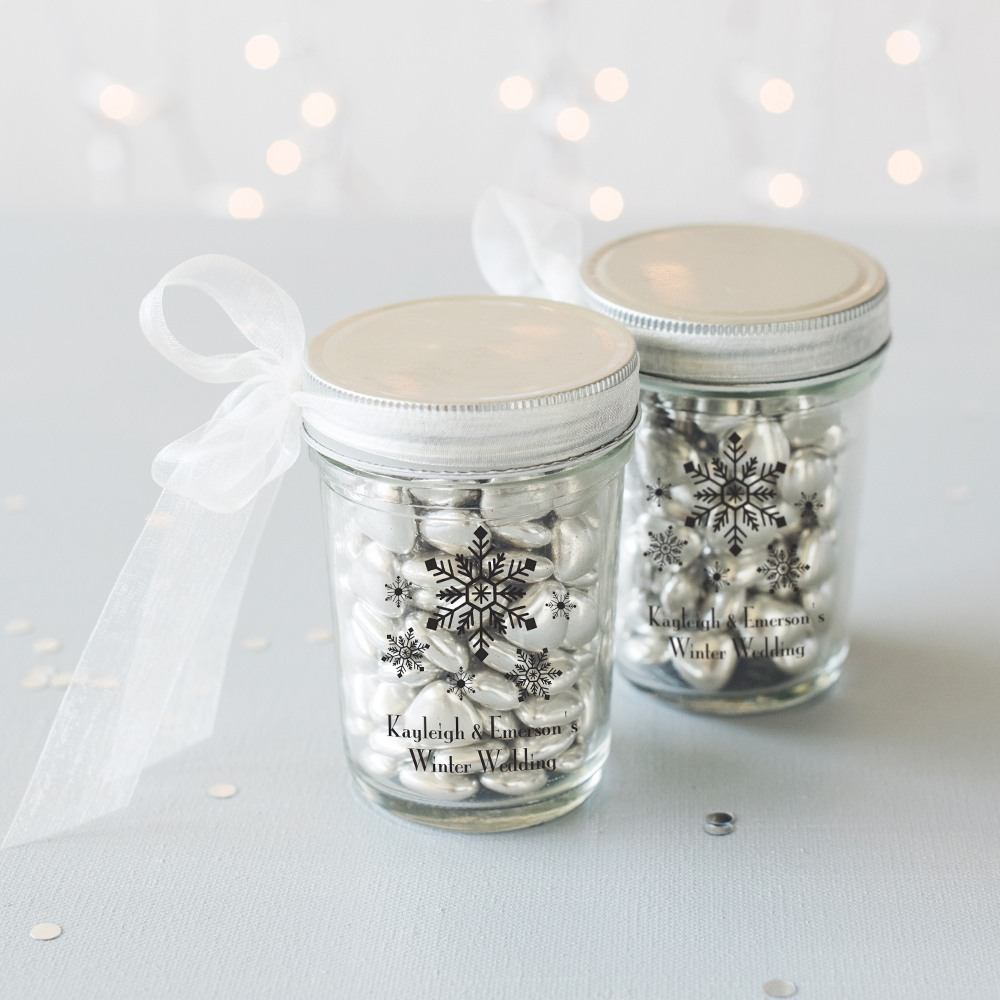 Personalized Snow Flurry Mason Jars