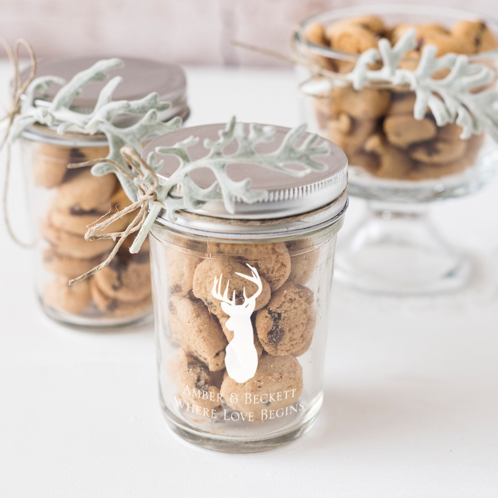 Personalized Woodland Printed Glass Mason Jar