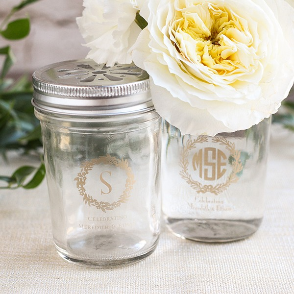 Personalized Wreath Printed Glass Mason Jar