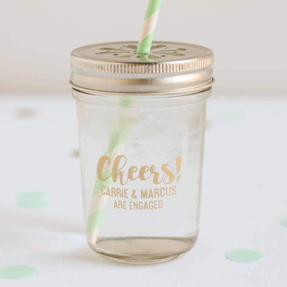 Personalized Cheers Printed Glass Mason Jar