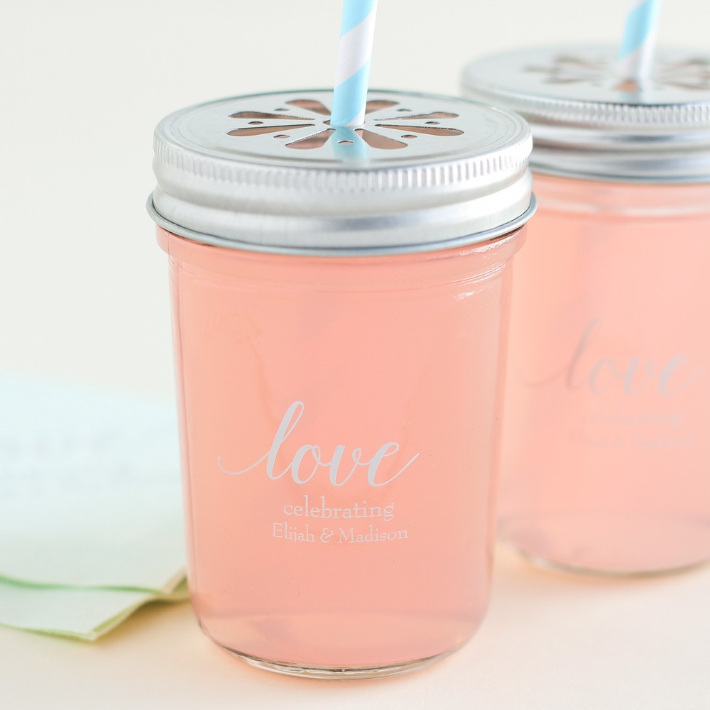 Personalized Love Printed Glass Mason Jar