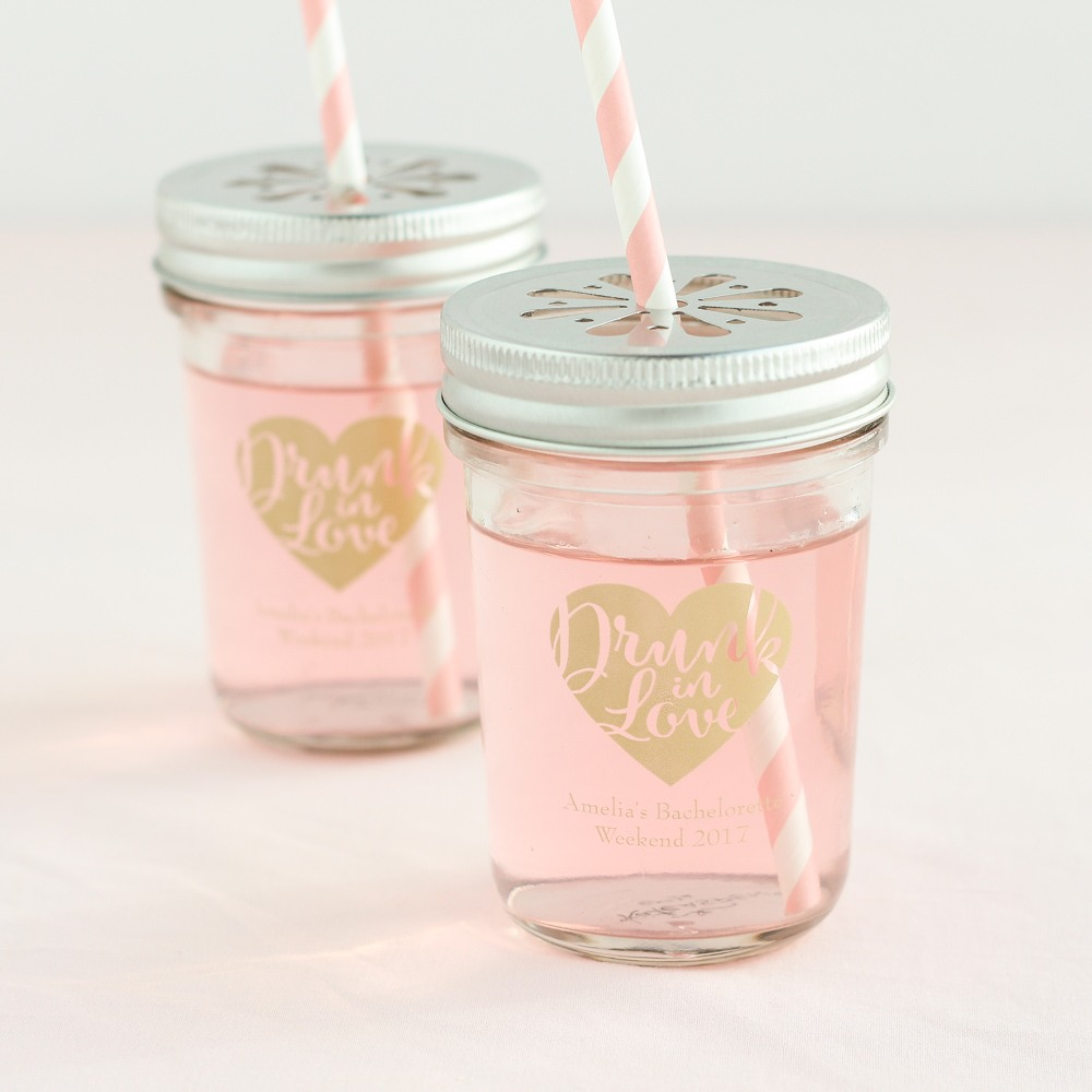 Personalized Drunk in Love Printed Glass Mason Jar