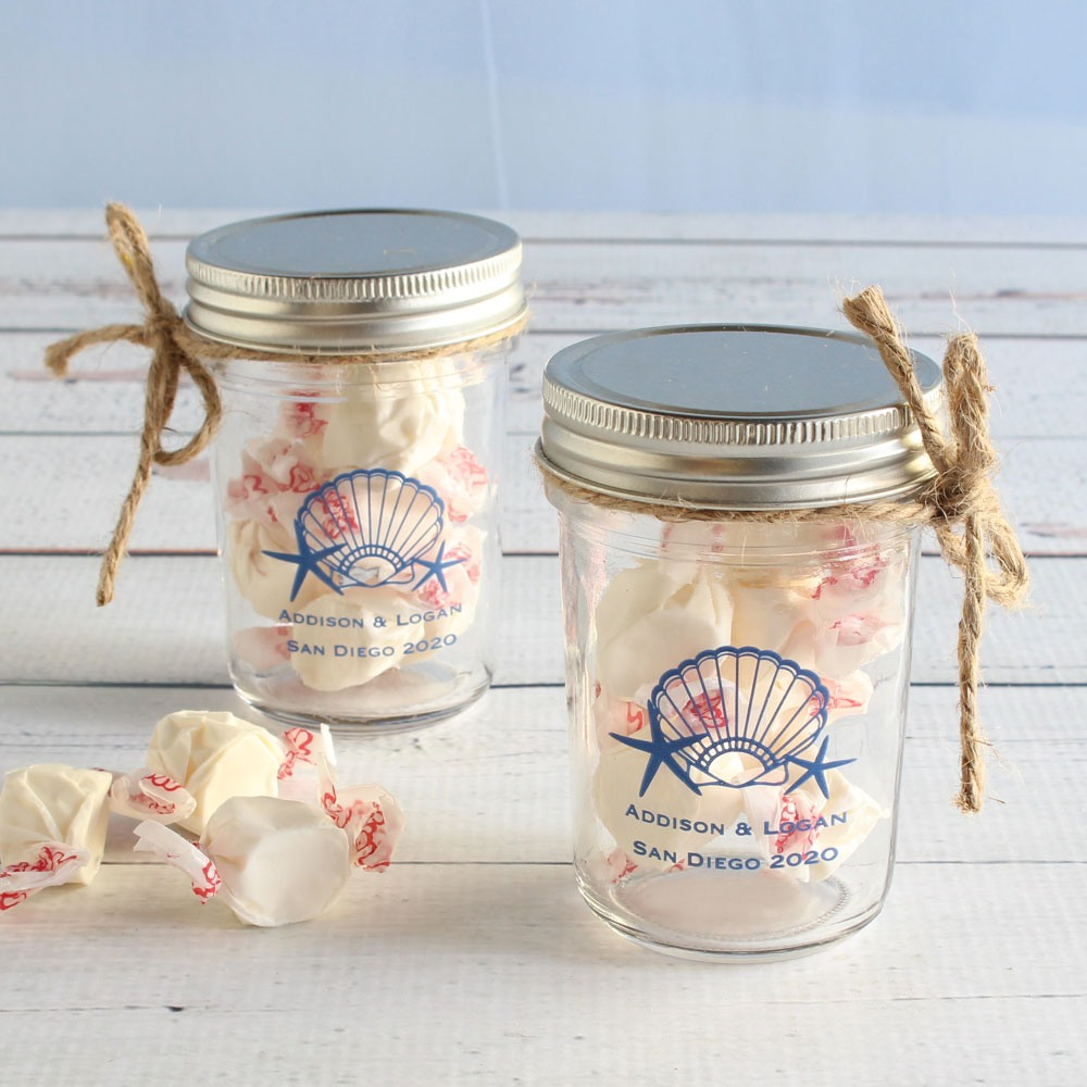 Personalized Seashell Printed Mason Jar