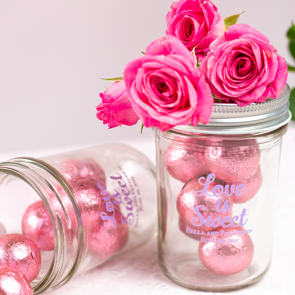 Personalized Love is Sweet Printed Glass Mason Jar